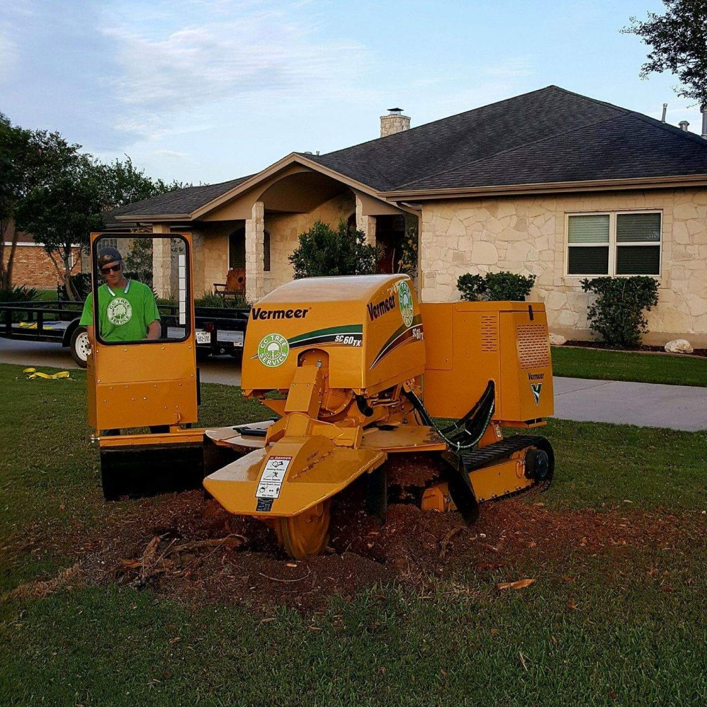 Matt Parks working the stump grinder